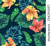 seamless hibiscus and monstera... | Shutterstock . vector #256291057