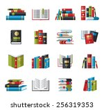 set of book icons in flat... | Shutterstock .eps vector #256319353