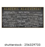 Small photo of Academic Achievement Blackboard: Intelligence, Readiness, Attitude, Opportunity, Preparedness, Resources, Goal, Time, Access, Participation, Listen,Comprehension, Technology, Persistence isolated