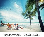 couple on the beach at tropical ... | Shutterstock . vector #256333633