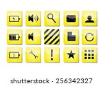 yellow icons with black symbols | Shutterstock .eps vector #256342327