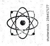atom design on old paper grunge ...   Shutterstock .eps vector #256417177
