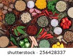 herb and spice selection over... | Shutterstock . vector #256428337