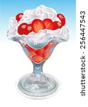 cup filled with cream and... | Shutterstock .eps vector #256447543