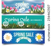 spring sale banners or... | Shutterstock .eps vector #256462507