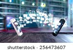 two smart phones exchanging... | Shutterstock . vector #256473607
