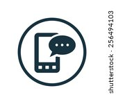 mobile message icon on white...