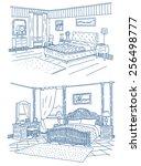 bedroom interiors vector... | Shutterstock .eps vector #256498777