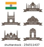 india set. logo. abstract... | Shutterstock .eps vector #256511437