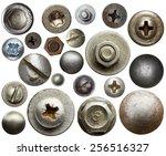 screw heads  nuts  rivets. | Shutterstock . vector #256516327