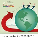 businessman pulling arrows... | Shutterstock .eps vector #256530313