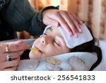 mother measuring fever of her... | Shutterstock . vector #256541833