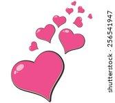 pink love hearts. | Shutterstock .eps vector #256541947
