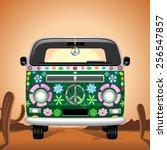 hippie groovy van traveling on... | Shutterstock .eps vector #256547857