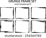 grunge frame set. vector... | Shutterstock .eps vector #256564783