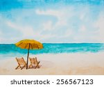 watercolor illustration beach. | Shutterstock . vector #256567123