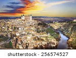 beautiful sunset over old... | Shutterstock . vector #256574527