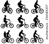 set silhouette of a cyclist... | Shutterstock . vector #256585357