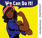 we can do it. iconic woman's... | Shutterstock .eps vector #256594147