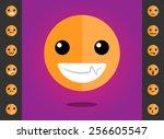 orange smile icons vector set... | Shutterstock .eps vector #256605547
