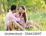 young young couple in love... | Shutterstock . vector #256613047