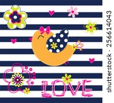 Cute Bird With Flowers On...