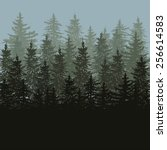 silhouette of fir trees scape... | Shutterstock .eps vector #256614583