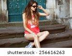 fashion glamor girl in... | Shutterstock . vector #256616263