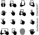 hands using computer screens ... | Shutterstock .eps vector #256638397