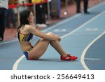 Small photo of ISTANBUL, TURKEY - FEBRUARY 21, 2015: Rumanian athlete Pastor Adelina after 4x400 relay race during Balkan Athletics Indoor Championships in Asli Cakir Alptekin Athletics hall.
