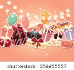 birthday background with... | Shutterstock .eps vector #256655557