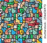 brazilian favela. bright... | Shutterstock .eps vector #256656973