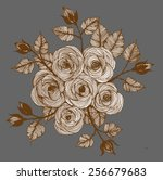 print freehand drawing rose | Shutterstock .eps vector #256679683