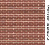 brick wall made of red facing... | Shutterstock . vector #256682623