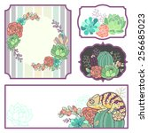 set of floral cards with... | Shutterstock .eps vector #256685023