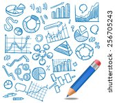 charts and diagrams business... | Shutterstock .eps vector #256705243
