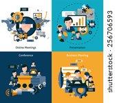 business meeting design concept ... | Shutterstock .eps vector #256706593