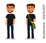 friendly cartoon guy with... | Shutterstock .eps vector #256761037