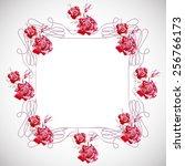 watercolor  wreath  frame ... | Shutterstock . vector #256766173