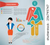 woman puzzle info graphic...   Shutterstock .eps vector #256795747