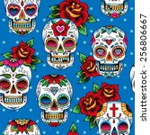 seamless pattern with skulls in ... | Shutterstock .eps vector #256806667