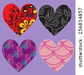 set of vector hearts with... | Shutterstock .eps vector #256814857