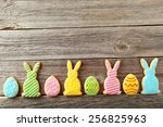 Colorful Easter Cookies On Gre...