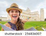happy young woman with map... | Shutterstock . vector #256836007