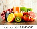glasses of fresh organic... | Shutterstock . vector #256856083
