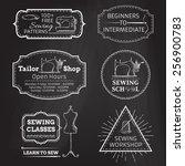 vector set of linear chalk... | Shutterstock .eps vector #256900783