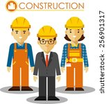 builder manager  man and woman... | Shutterstock .eps vector #256901317