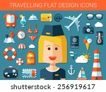 set of modern vector travel... | Shutterstock .eps vector #256919617