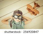 happy child playing with toy... | Shutterstock . vector #256920847