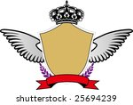 a badge with wings and a crown. | Shutterstock .eps vector #25694239